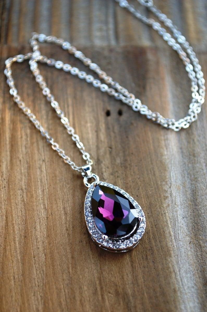 Sofias Amulet Princess Necklace Purple Rhinestone Deep