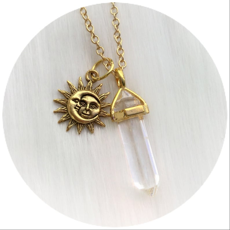 Sun Moon Crystal necklace YOUR CHOICE OF Gemstone Silver or