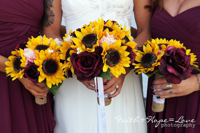 Sunflower Bouquet Wine and Sunflower Bouquet Burgundy and