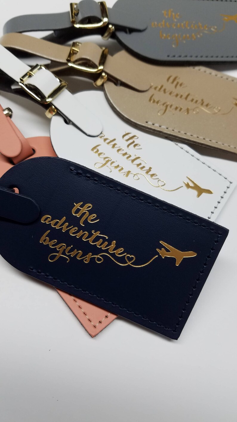 The Adventure Begins with plane Luggage Tag Gifts  Traveler