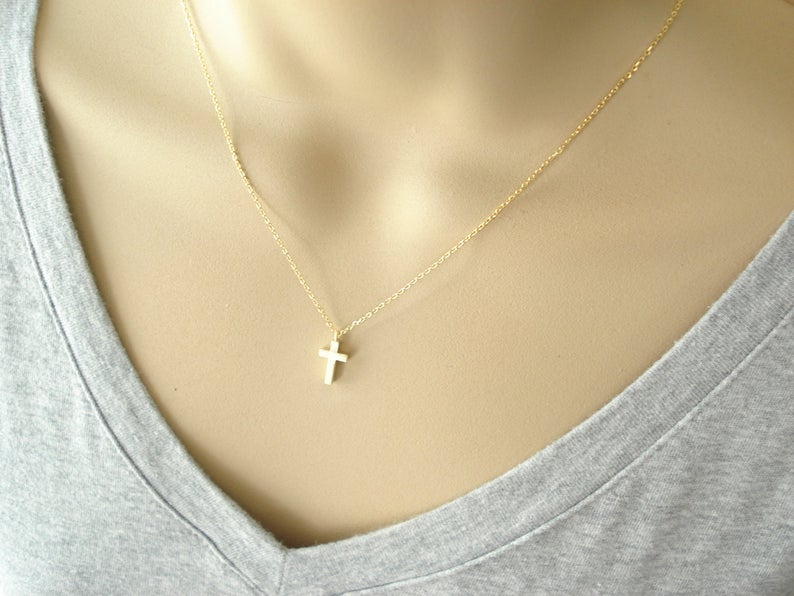 Tiny Cross Necklace Gold or Silver..simple everyday wear