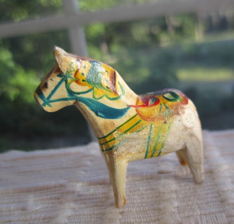 Vintage Cream Dala Swedish Folk Art Horse