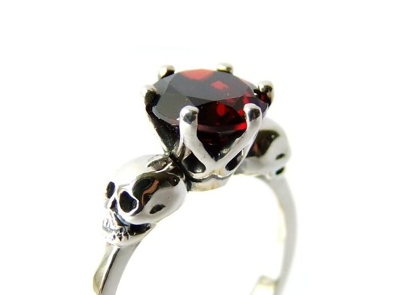 WANDA Bloody Red Garnet Skull Ring Valentines Day Gift Goth