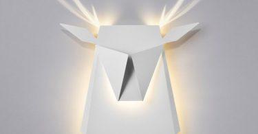 White LED Aluminium Deer Head Light Fixture