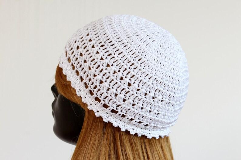 White summer beanie hat silky soft cotton viscose blend
