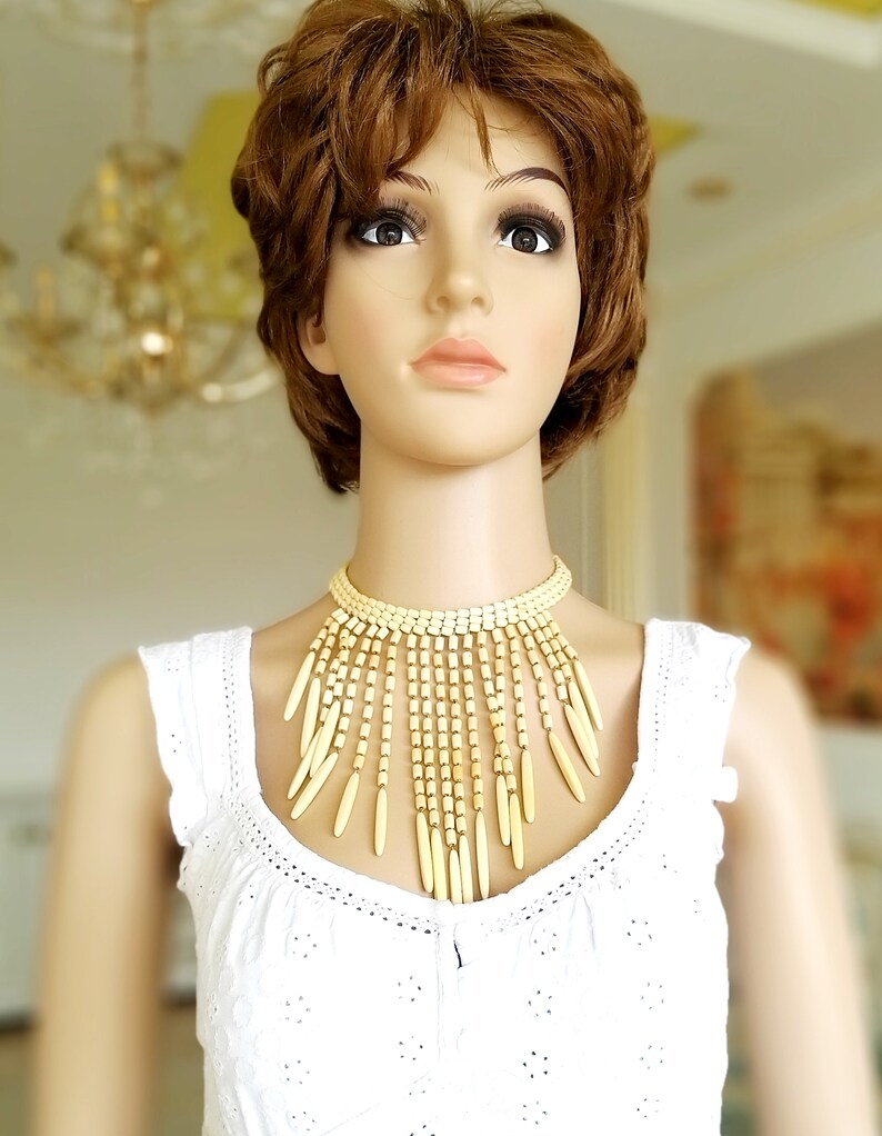 Wood necklace Wooden Choker statement jewelry statement