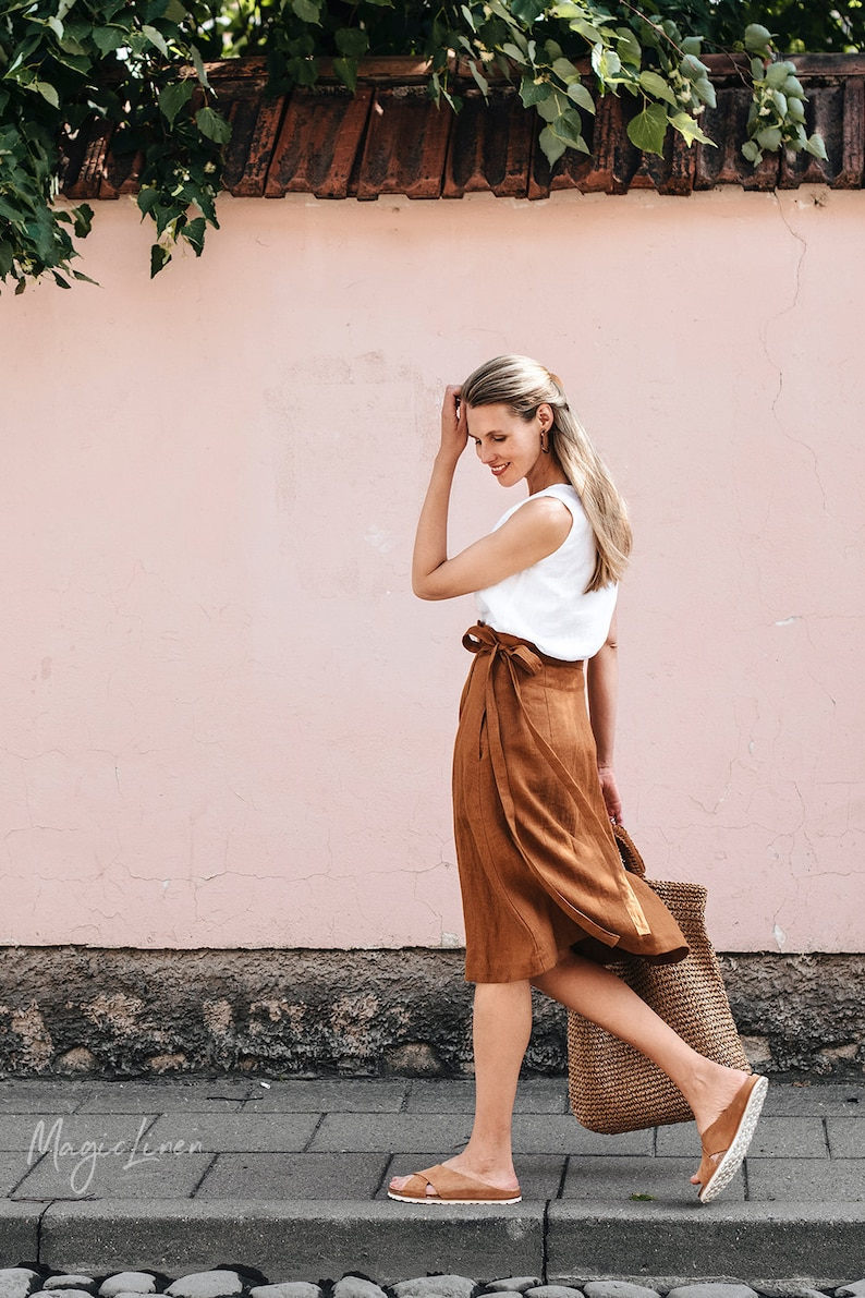 Wrap linen skirt SEVILLE. High-waist linen skirt. Midi linen