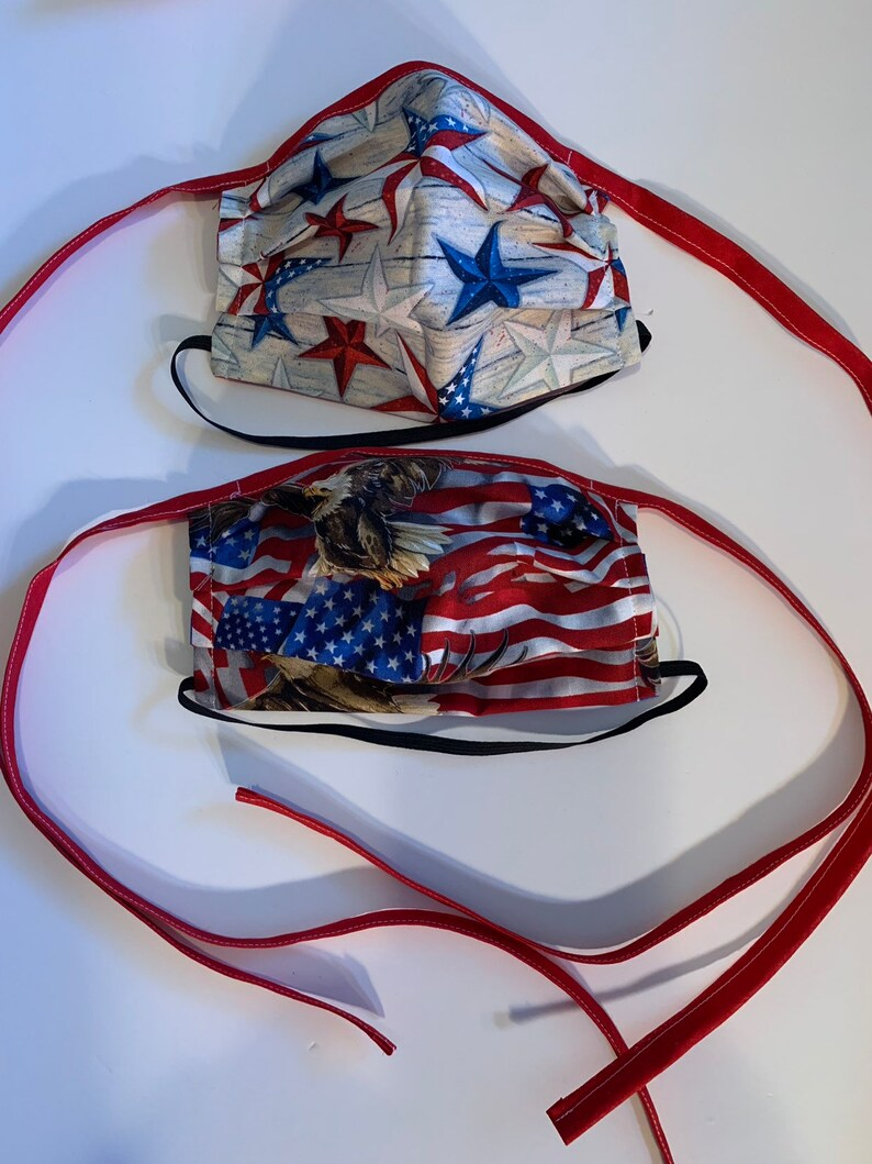 American TIE FACE MASK reusable washable mask Adult stars
