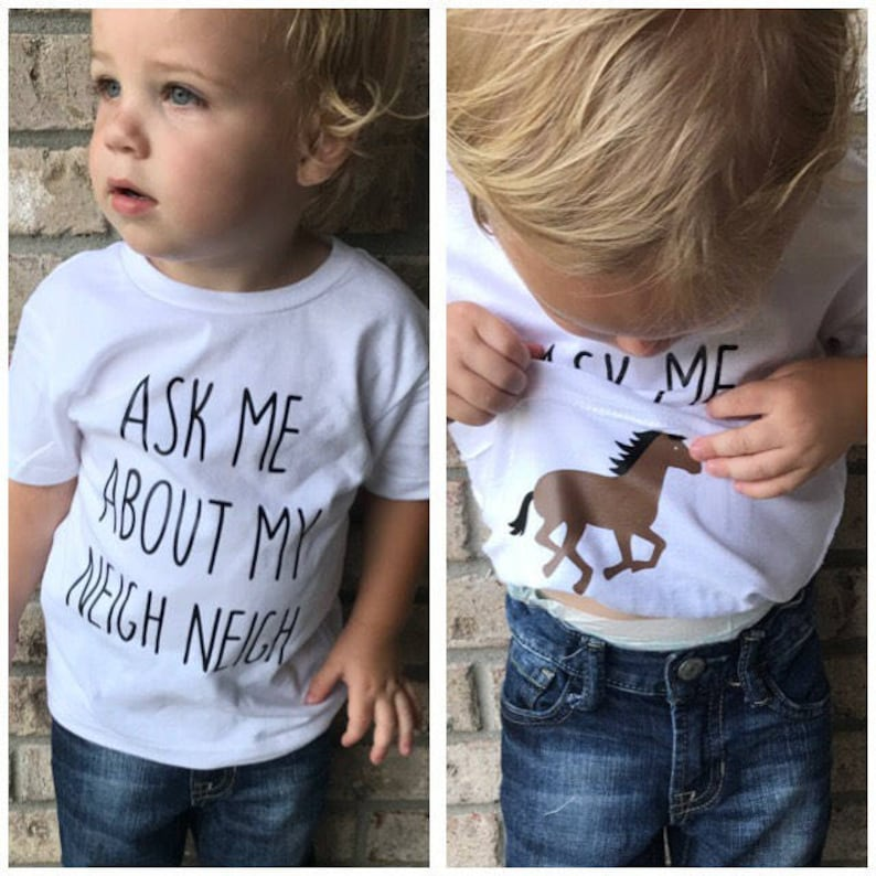 Ask Me About My Neigh Neigh Shirt Funny Kids T-Shirt Horse