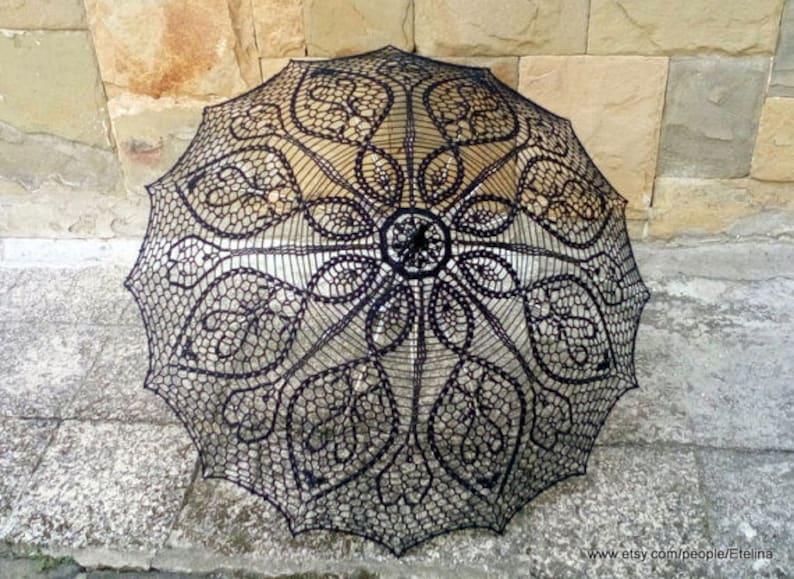 Black Crochet Umbrella Victorian Parasol Goth Umbrella