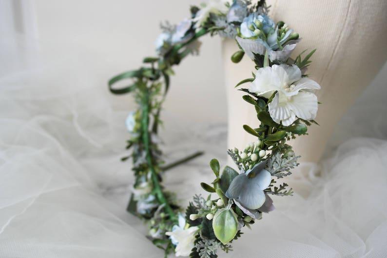 Blue flower crown bridal flower crown flower halo flower