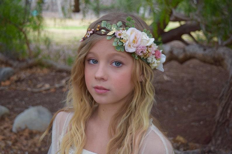 Blush Pink Flower Crown  Flower Girl Crown  Photo Prop