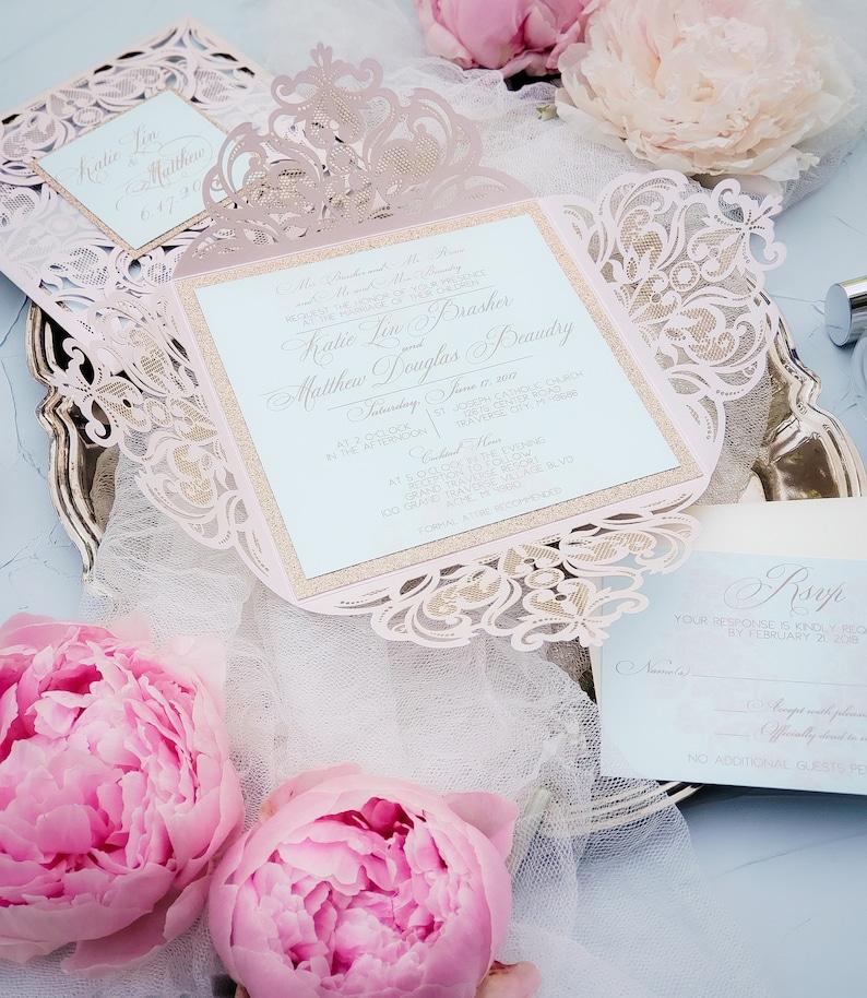 Blush Wedding Invitations laser cut blush gold elegant