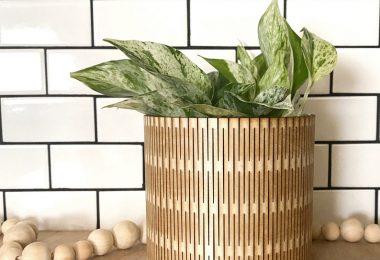 Boho plant pot Minimalist planter Indoor wood plant pot