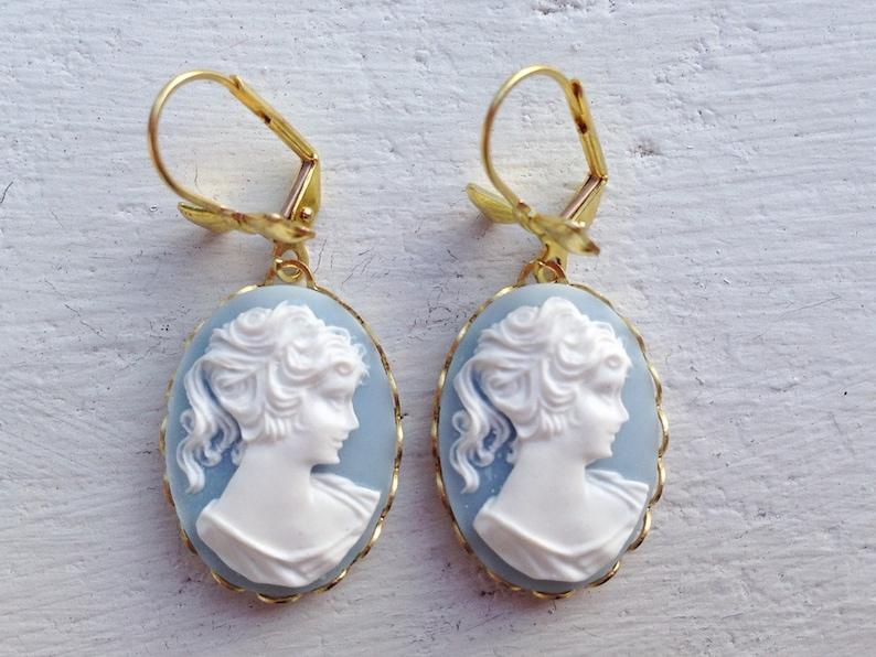 Cameo Earrings/Wedgewood Blue Earrings/Blue Cameo