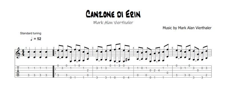 Canzone di Erin  Guitar Tab & Sheet Music