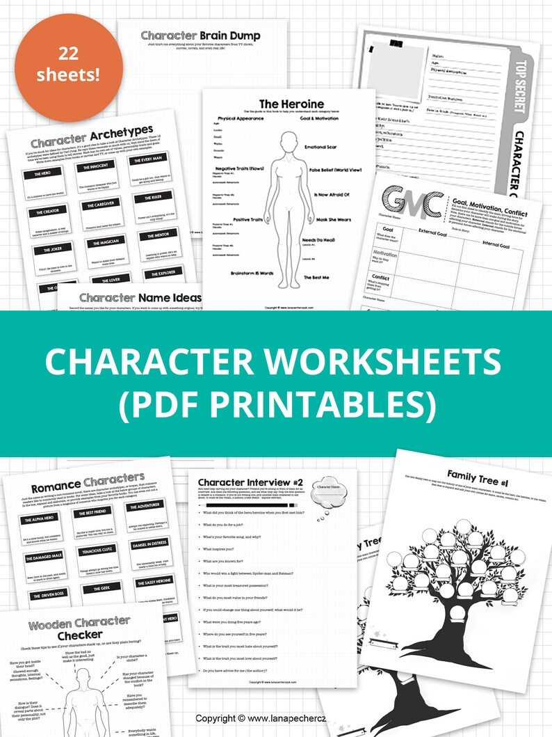 Character Worksheets  Author Templates PDF Printables
