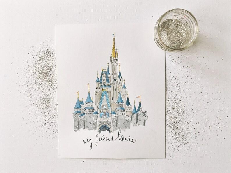 Cinderlla's Castle Watercolor Print My Second Home