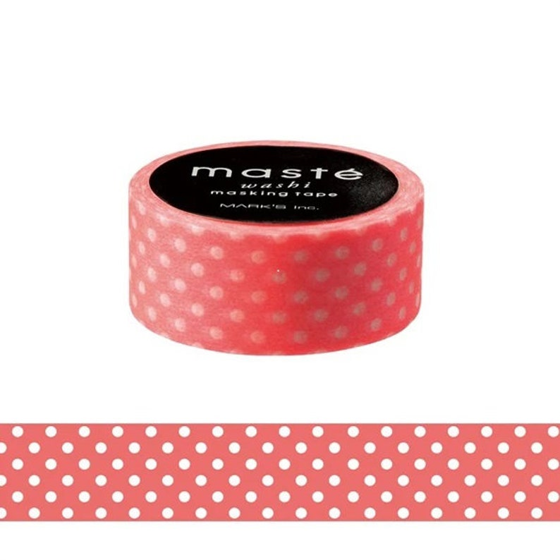 Coral Dots Washi Tape Decorative Gift tape Maste Japan