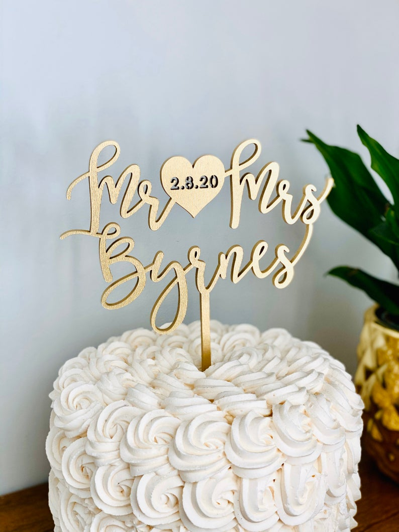 Custom Mr Heart Mrs Name Cake Topper with Engraved Date on