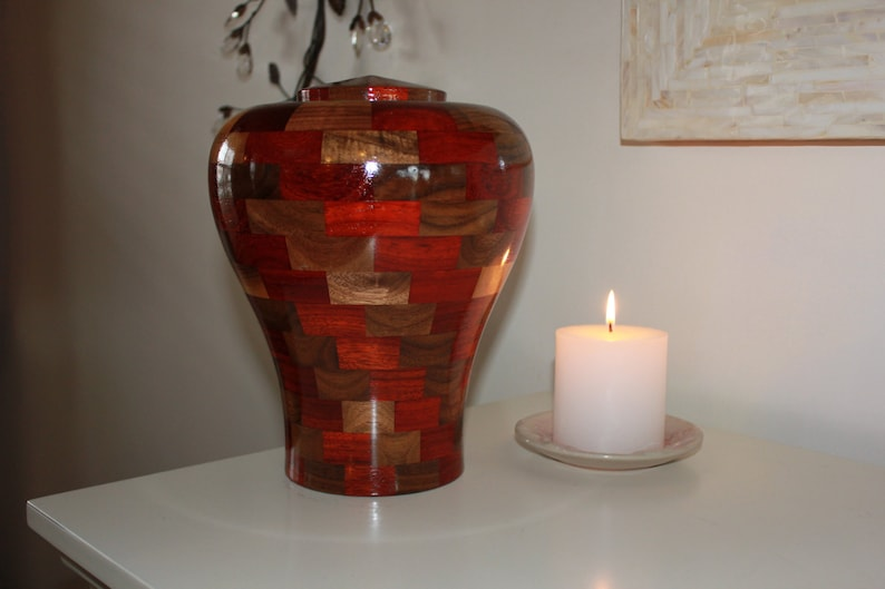 Custom Wooden Cremation Urn for Human Ashes  Artistic