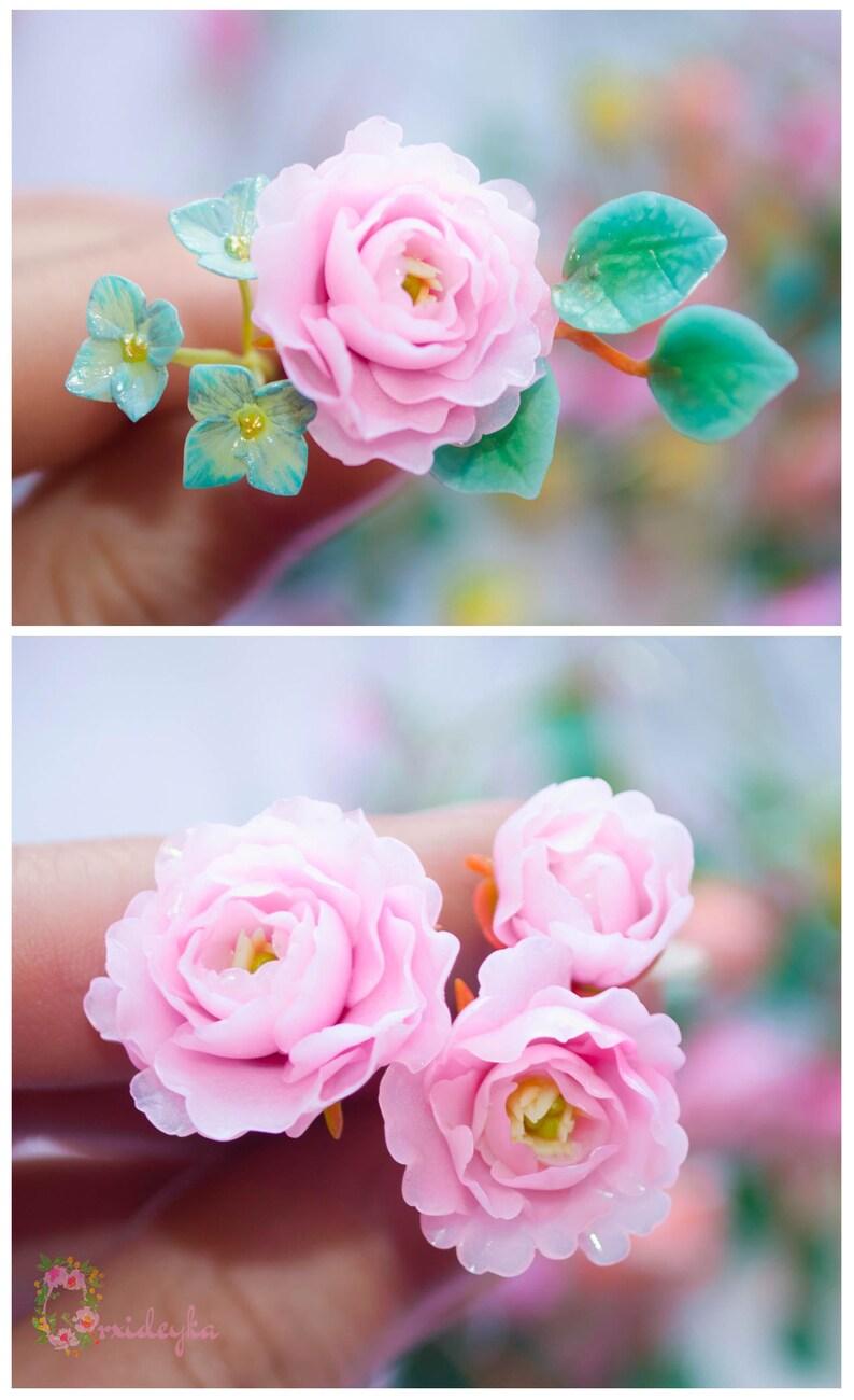 Custom order Clay flowers Pink peony Pink roses Blooming peony
