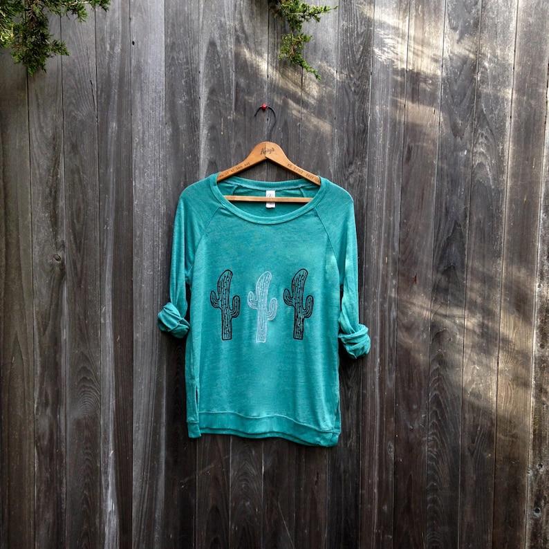 Desert girl Cactus Shirt Slouchy Pullover Yoga Top Cactus