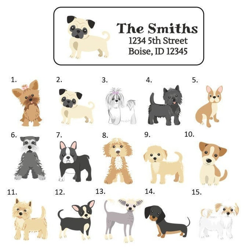 Dog Breed Address Labels Stickers 30 personalized labels