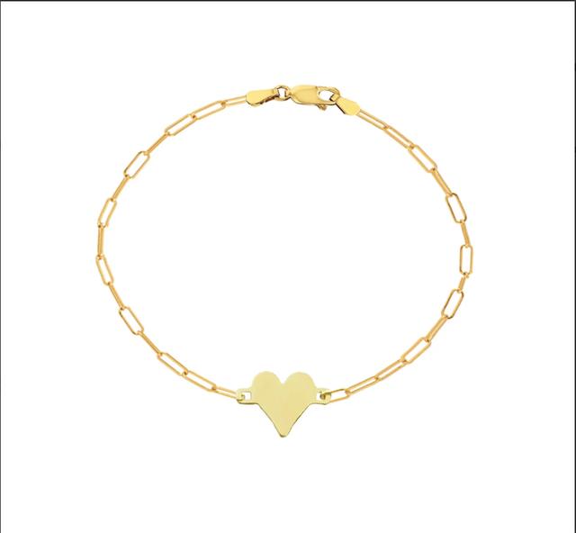 Engravable Gold Heart Bracelet