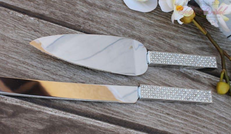 FAST SHIPPING Silver Swarovski Crystal Cake Knife and Server