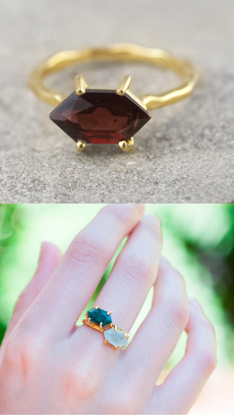 Garnet Ring Gold January Birthstone Ring Stackable