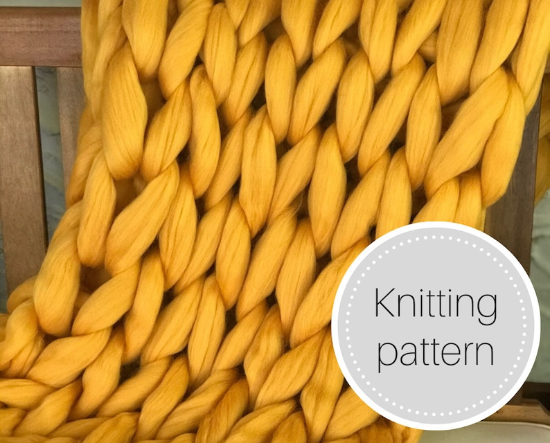 Giant knit blanket pattern  instant download  chunky knit