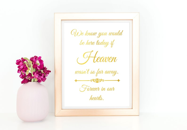 In Loving Memory Wedding Sign Forever in Our Hearts Gold