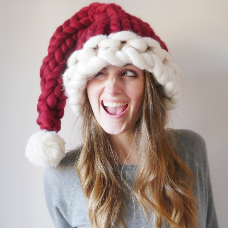 Knitted Santa Hat Hand Knitted Chunky Christmas Hat Unique