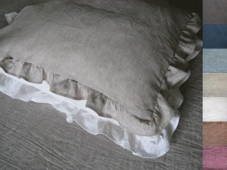 Linen Ruffle Pillow Cover Pillowcase Standard Queen King Euro
