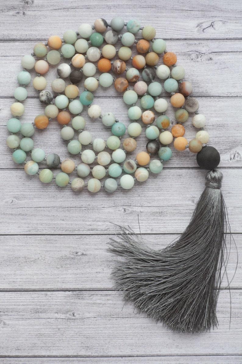 Long Amazonite necklace /108 amazonite beads mala tassel