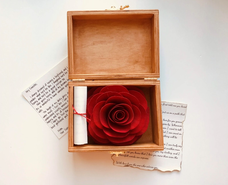Love Box Wooden Rose Anniversary Gift for Wife Personalized
