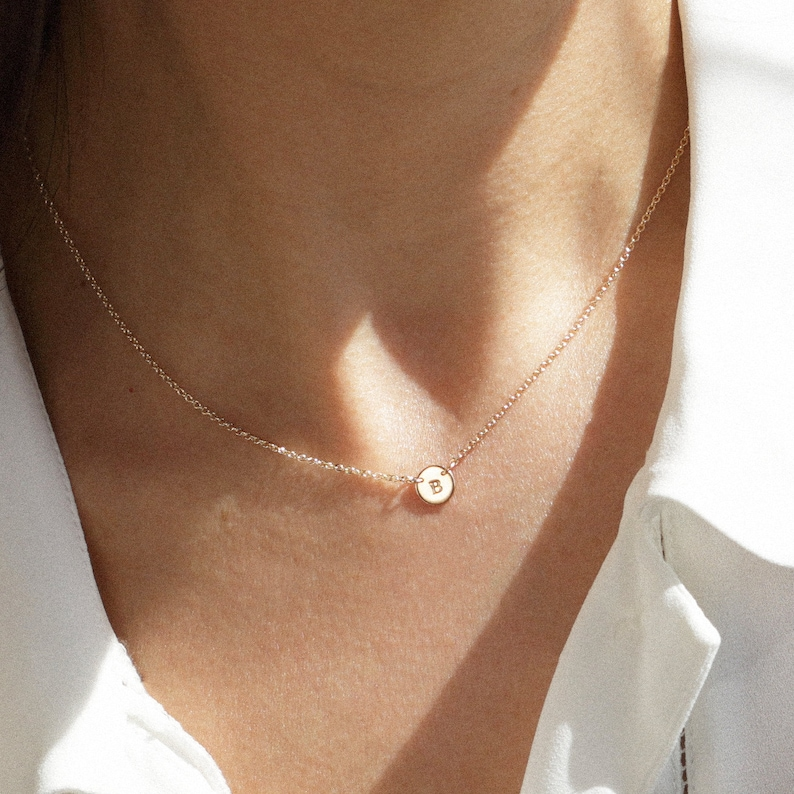 MIA Necklace  6mm Disc Necklace  Initial Necklace Dainty