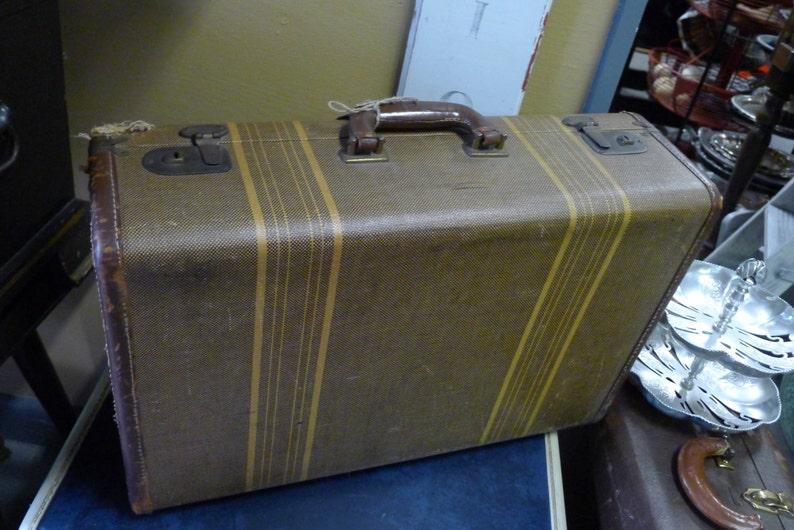 Medium vintage suitcase  striped brown