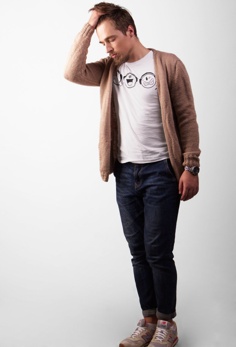 Men's Beige Hand Knitted Wool Loose Fit Cardigan