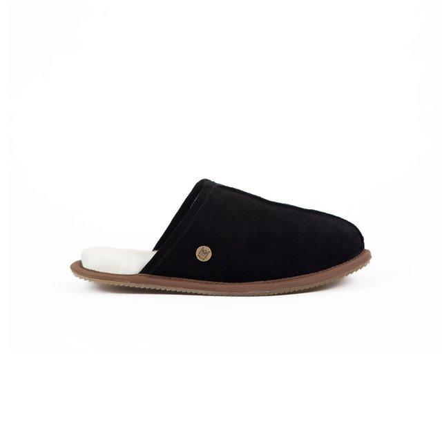 Men's Black Sheepskin Slippers