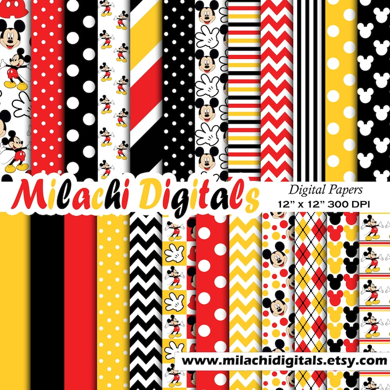 Mickey mouse digital paper scrapbook papers wallpaper