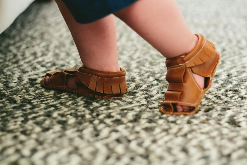 Moccasin Sandals vegan baby soft sole shoes baby moccs