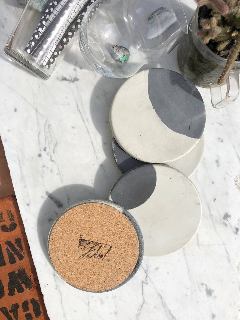 Moon Charcoal & Natural Concrete Coaster Set of Four