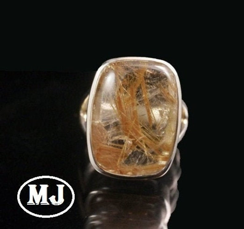 Natural Rutilated Quartz Ring 925 Sterling Silver Rutilated