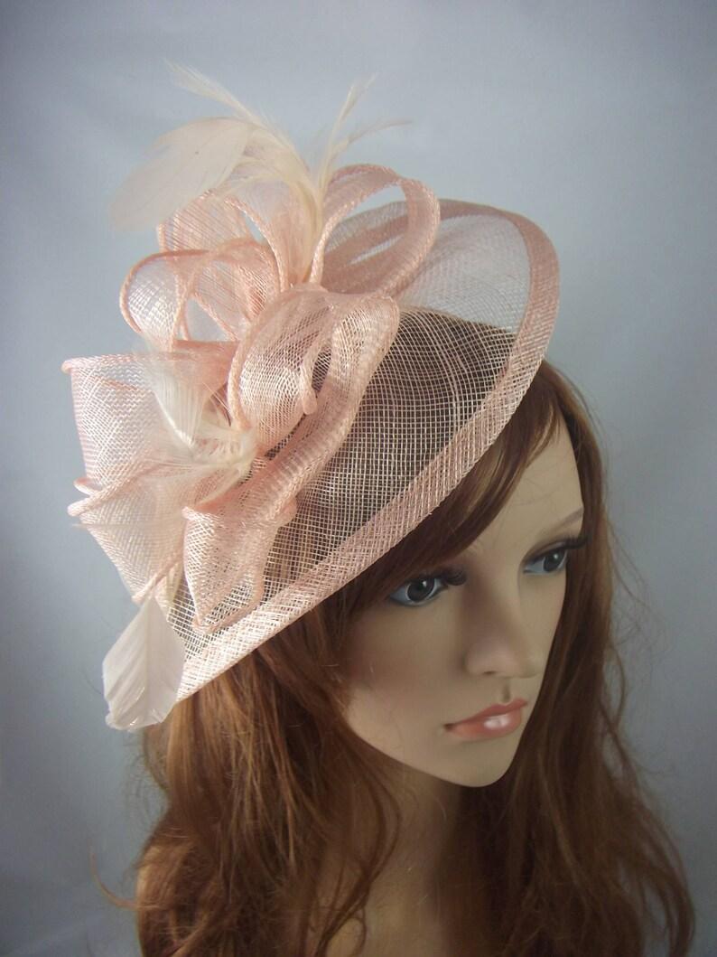 Nude Pink Teardrop Sinamay Fascinator with Feathers  Wedding