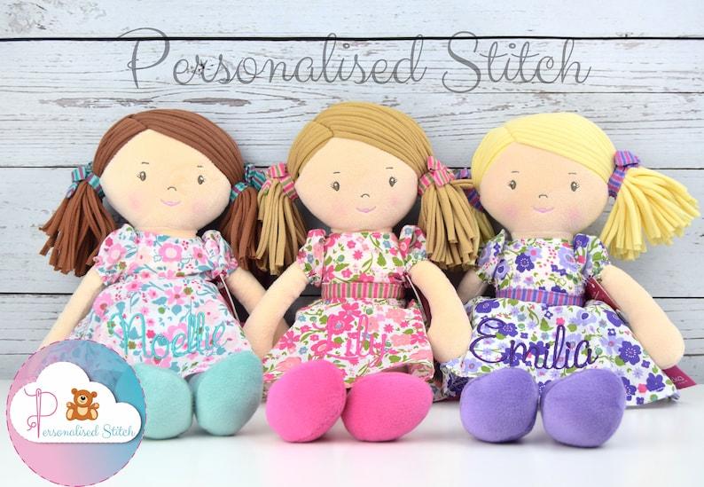 Personalised Rag Dolls Embroidered Bonikka Birthday Baby Gift