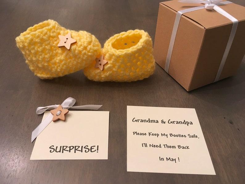 Pregnancy Announcement Grandparents Announcement Booties