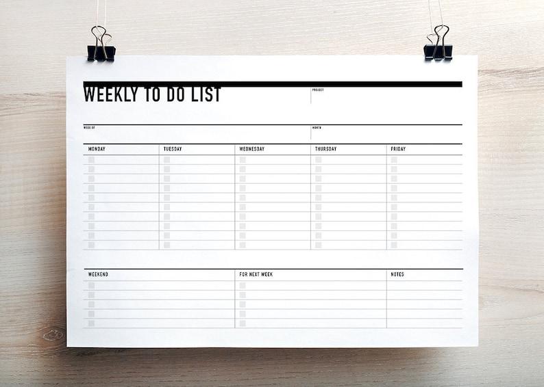 Printable Weekly To Do List Week Agenda Planner Printable To