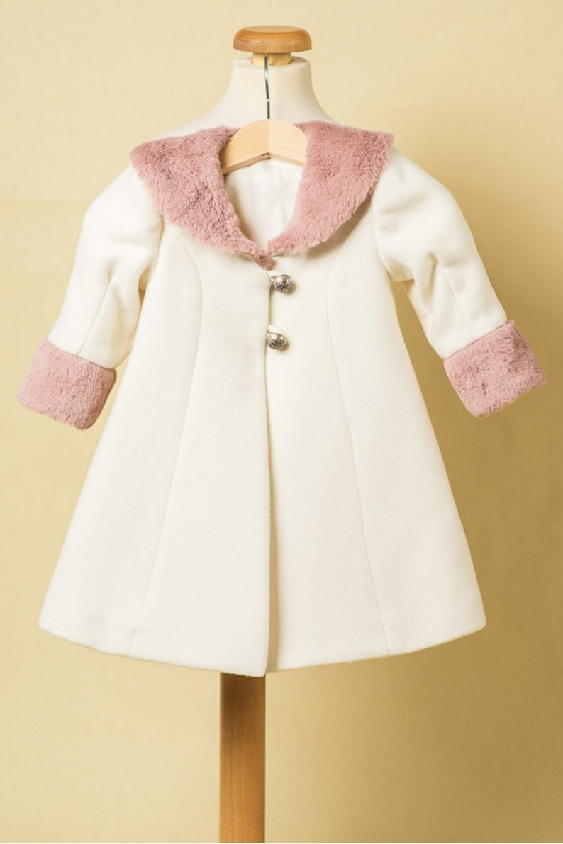 Quartz Rose Ivory Coat For Girls Pink Fur Baby Girl Coat